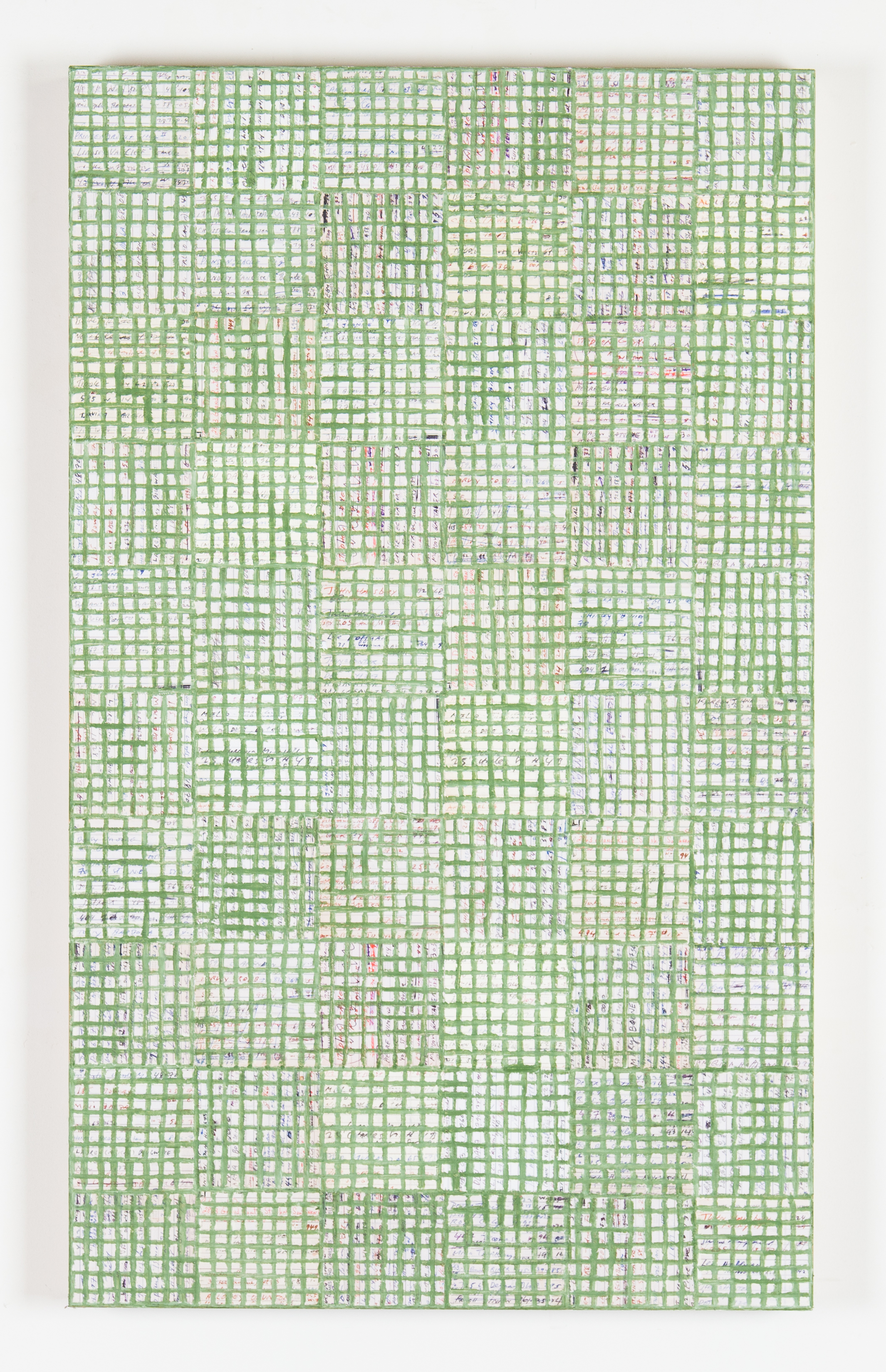 McArthur Binion  -  dna: study , 2018 Oil paint stick and paper on board 40h x 24w x 2d inches