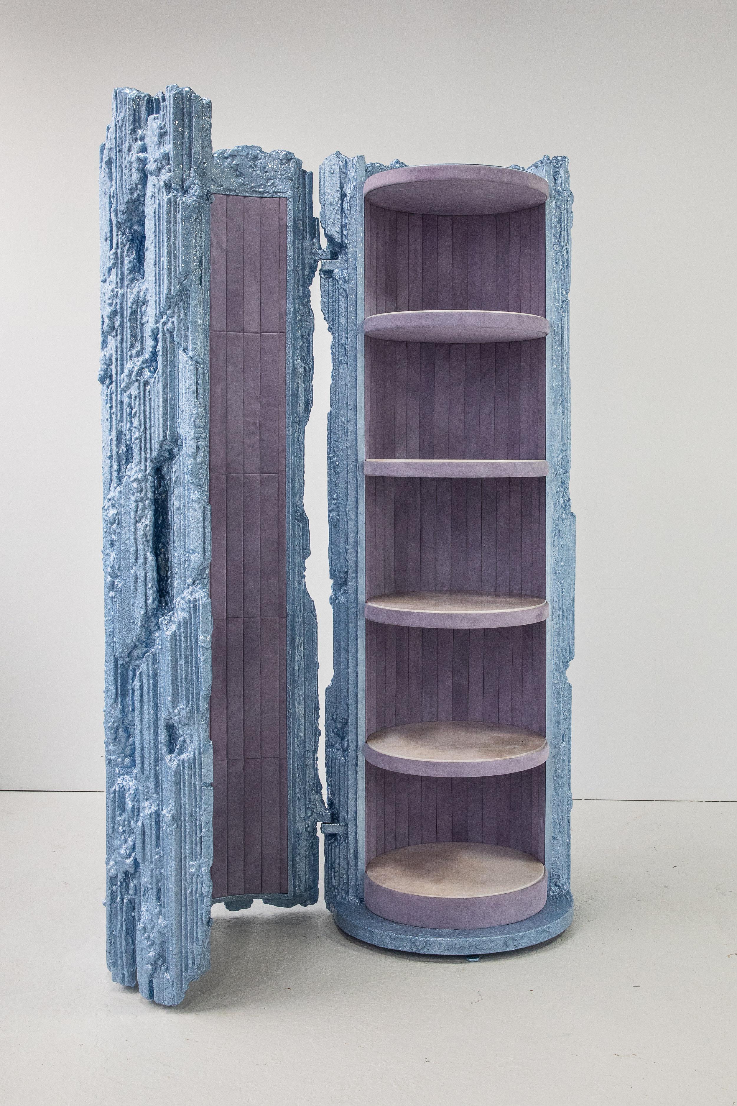 Chris Schanck  -  Cyro , 2018 Steel, aluminum, polystyrene, polyurea, resin, suede and onyx 90h x 32w x 32l inches