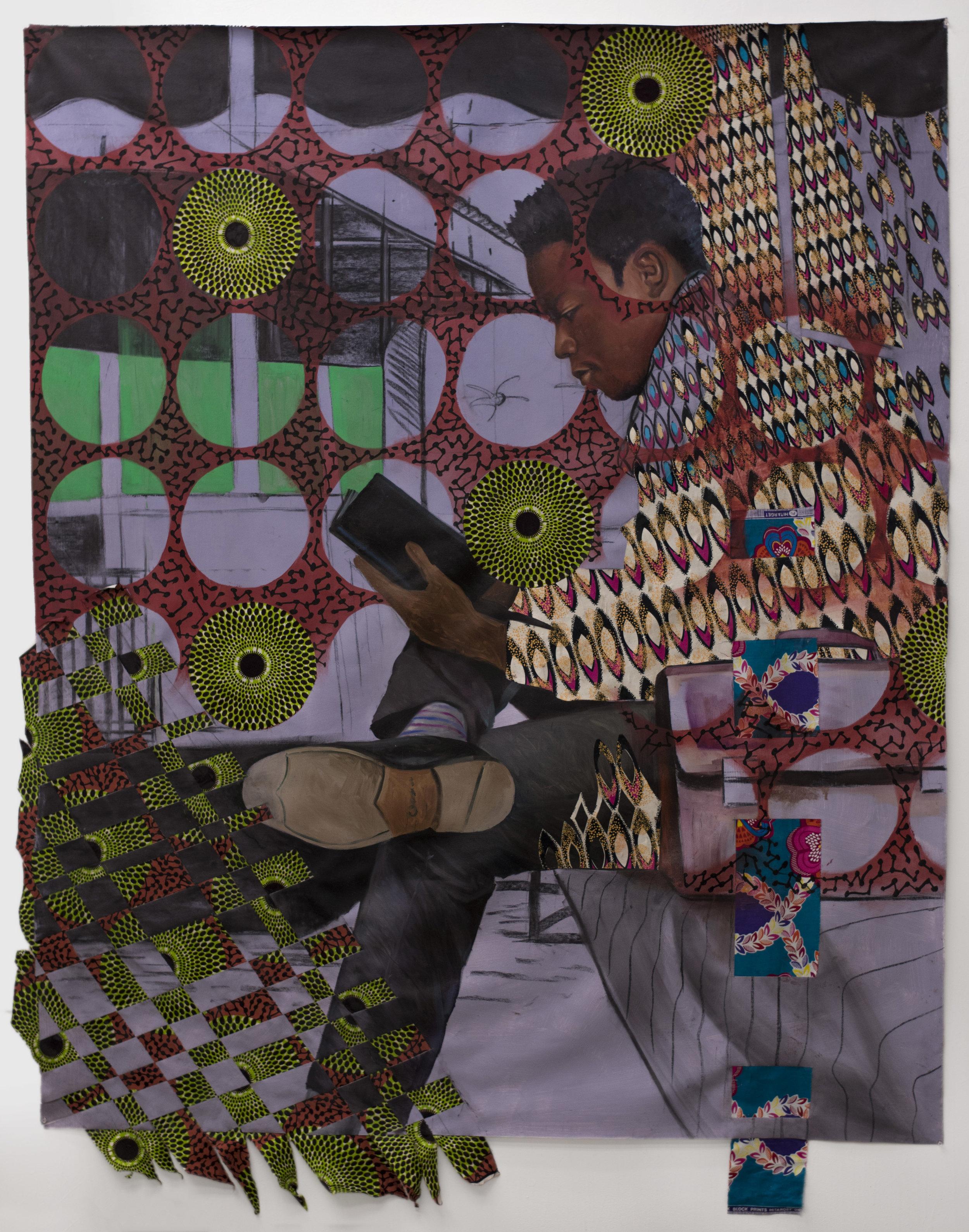 Patrick Quarm  -  PATHOS, ETHOS, LOGOS , 2017 Mixed media (Oil on African print fabric) 70h x 59w inches