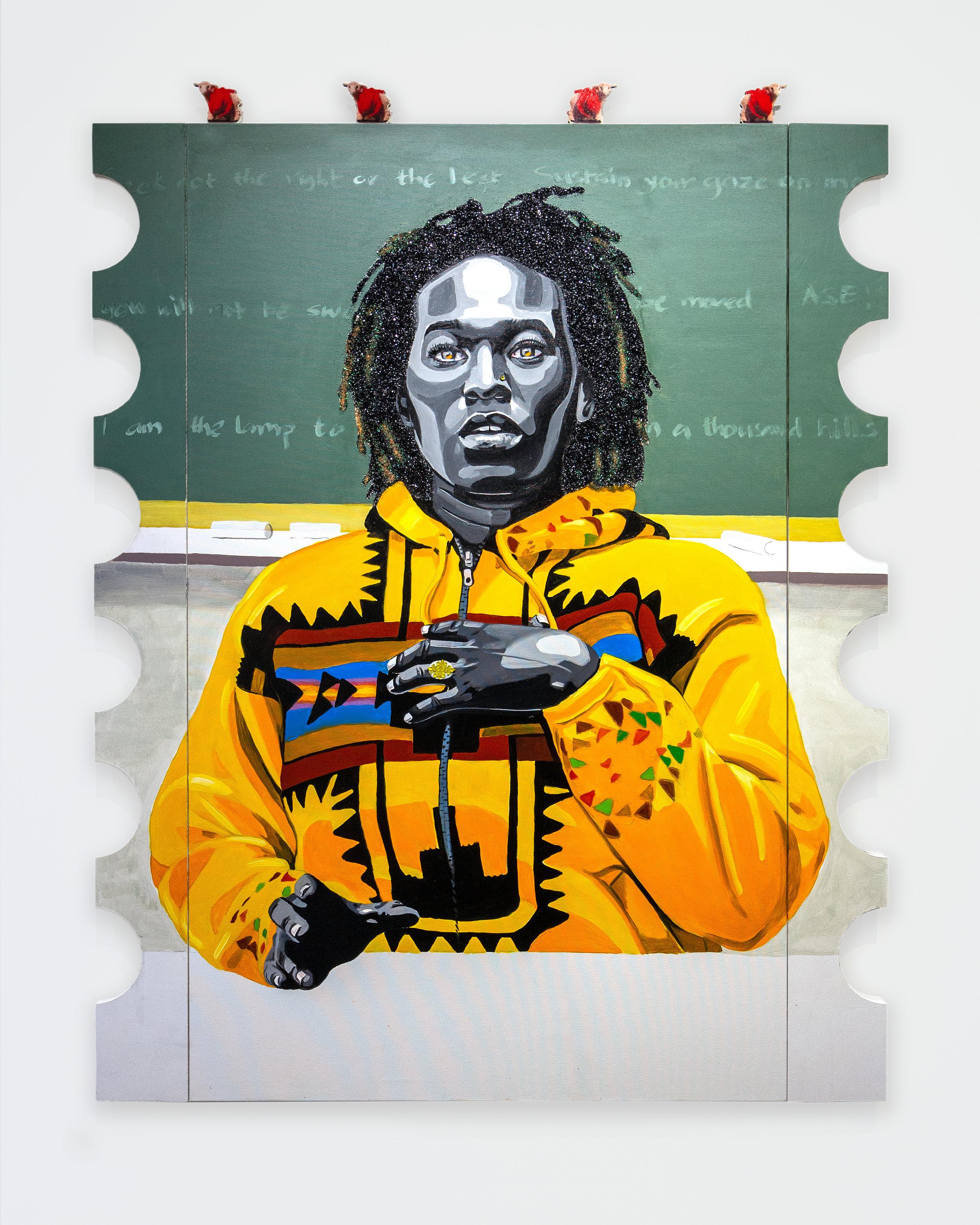 Conrad Egyir  -  Qhristine, Me'usa , 2018 Acrylic, oil, glitter, mounted plexi and wood on canvas 66h x 48w inches