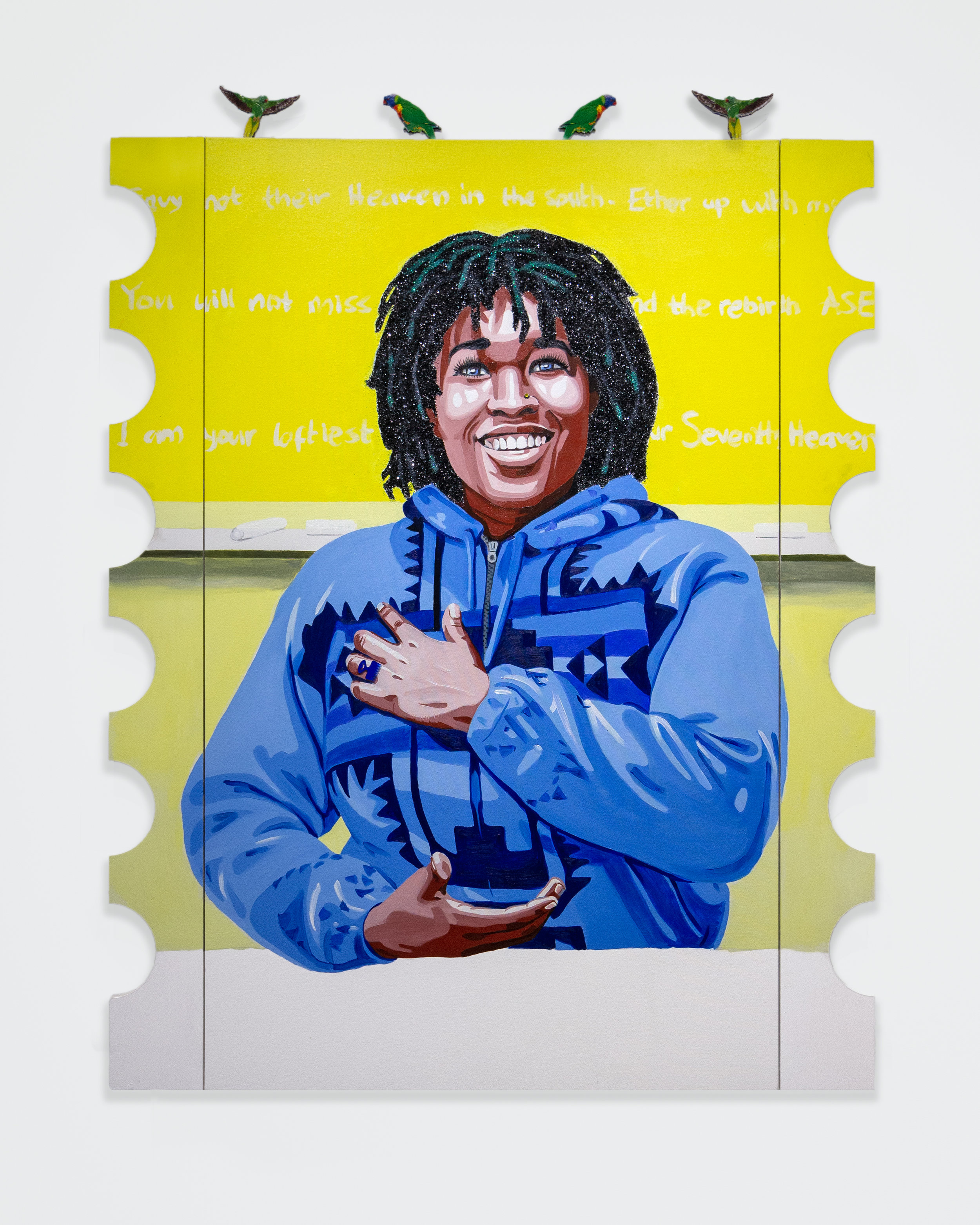 Conrad Egyir  -  Qhristine Moe Paco, Background , 2018 Acrylic, oil, glitter, mounted plexi and wood on canvas 66h x 48w inches