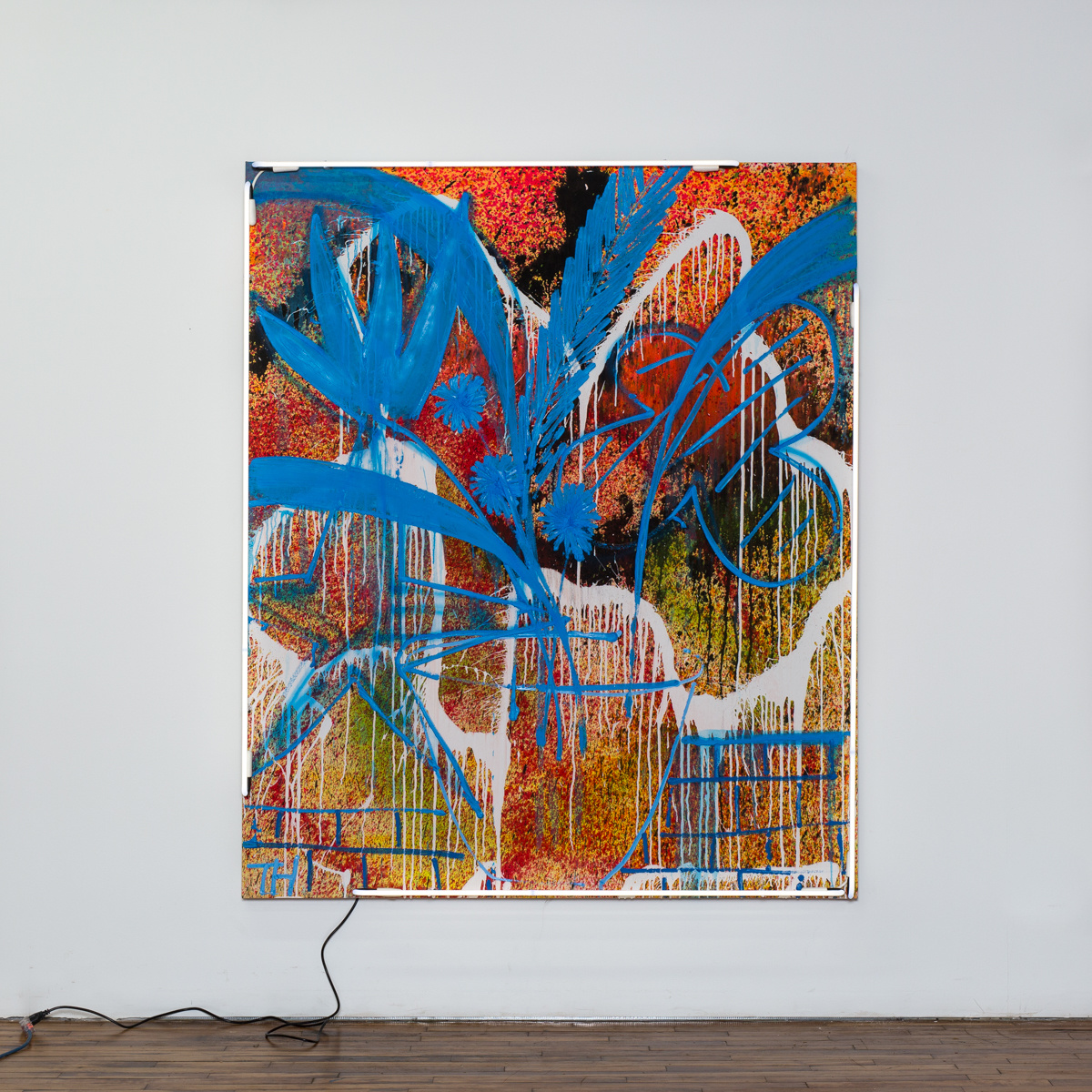 Thrush Holmes  -  S.O.S ., 2019 Acrylic, oil and neon on canvas 72h x 60w inches