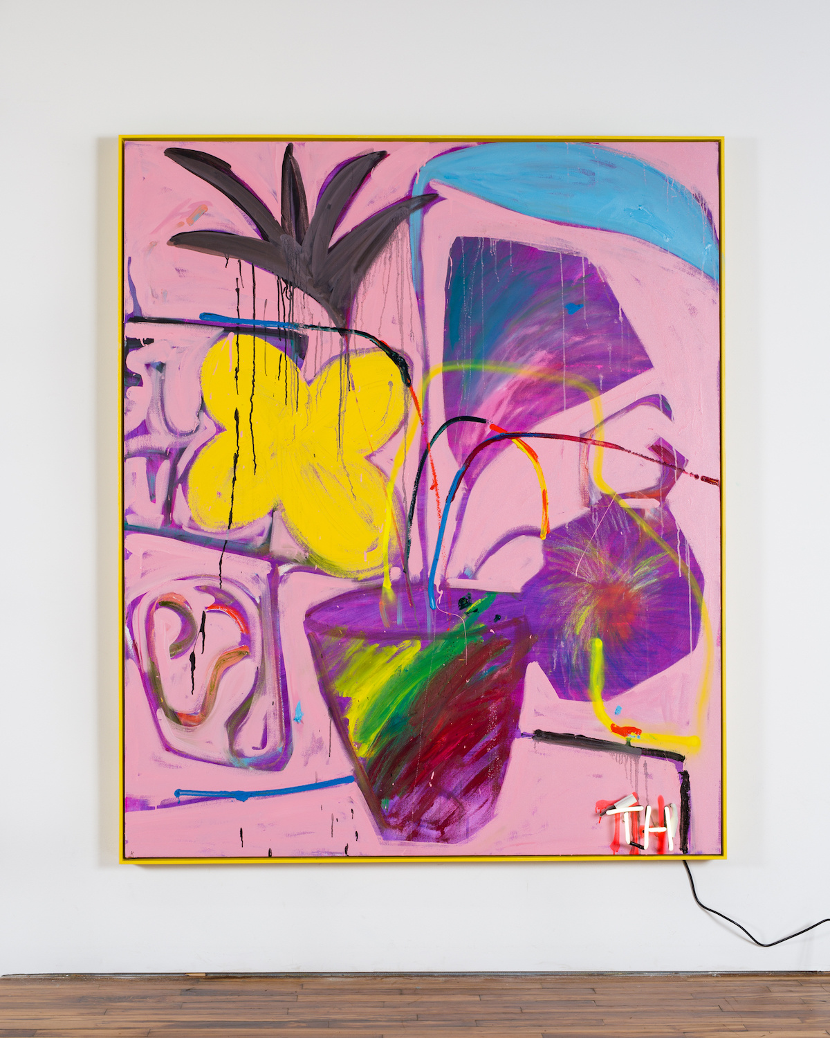 Thrush Holmes  -  Moonless Acre , 2018 Oil, spray paint, neon on canvas mounted to panel with artist's frame 72h x 60w inches