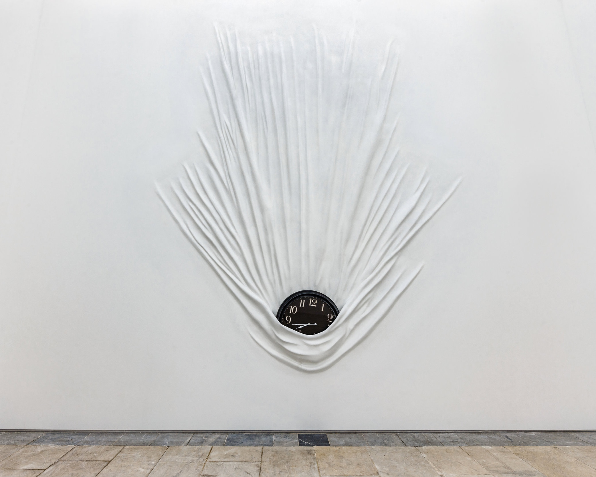 Daniel Arsham  -  Falling Clock , 2019 Fiberglass, paint, joint compound, clock 96 x 72 x 8 inches