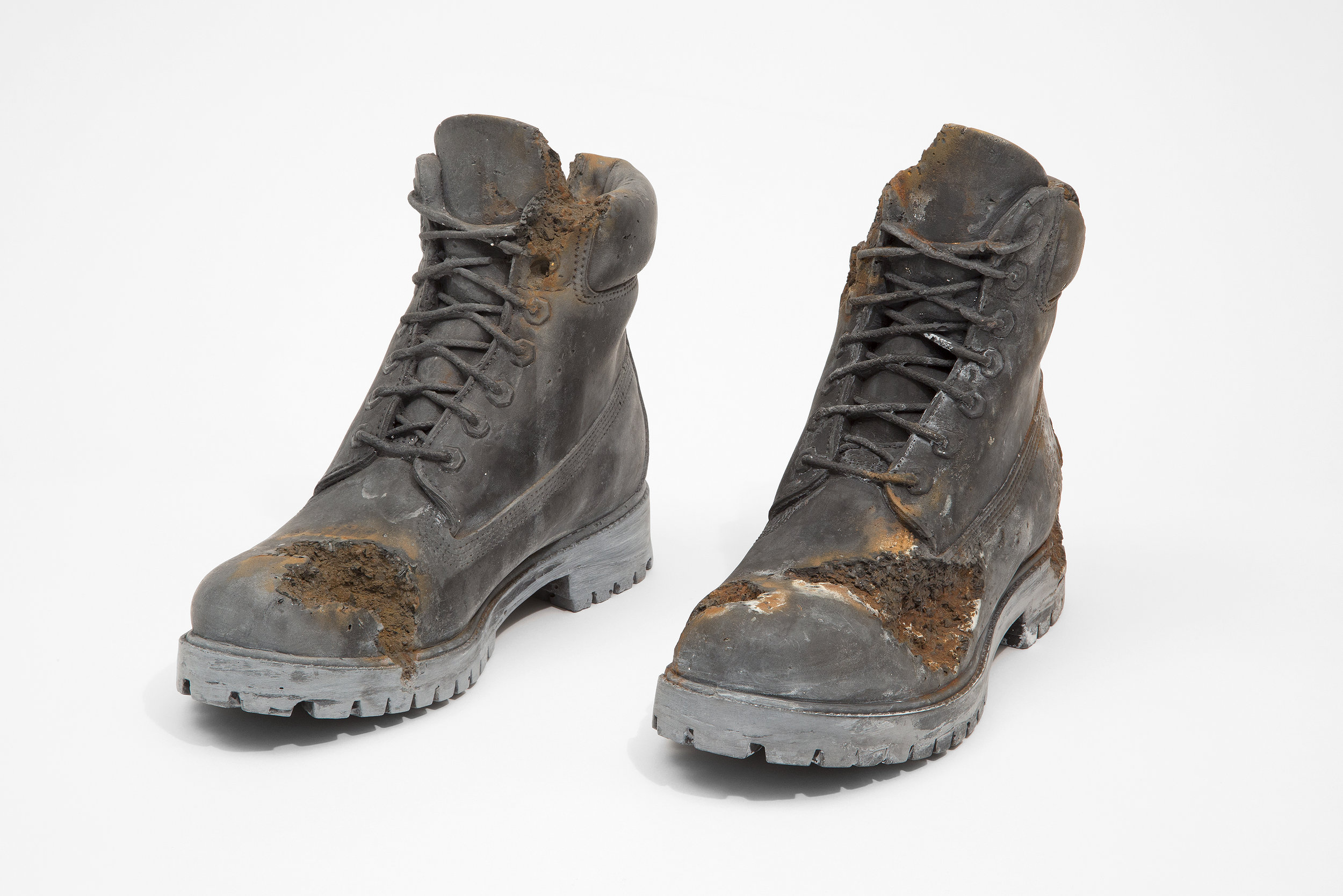 Daniel Arsham  -  Steel Eroded Boots (Pair) , 2019 Steel and hydrostone 8.75 x 12 x 4 inches each shoe