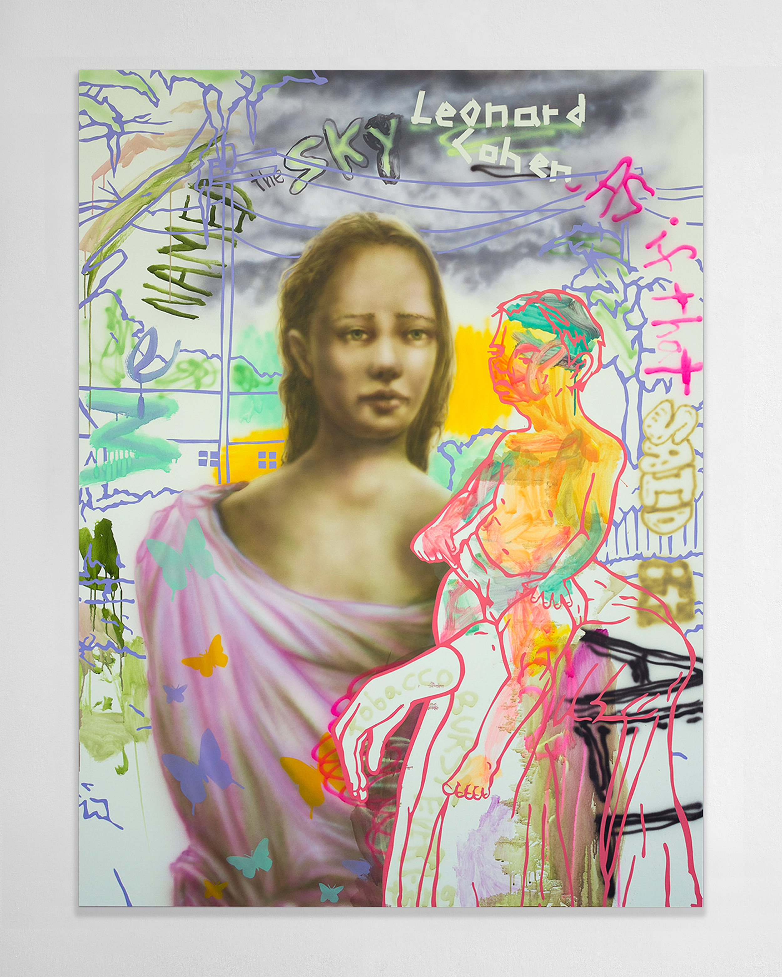 Willie Wayne Smith  -  Poconos Pontormo , 2018 Acrylic and airbrushed acrylic on canvas 70h x 52.50w inches