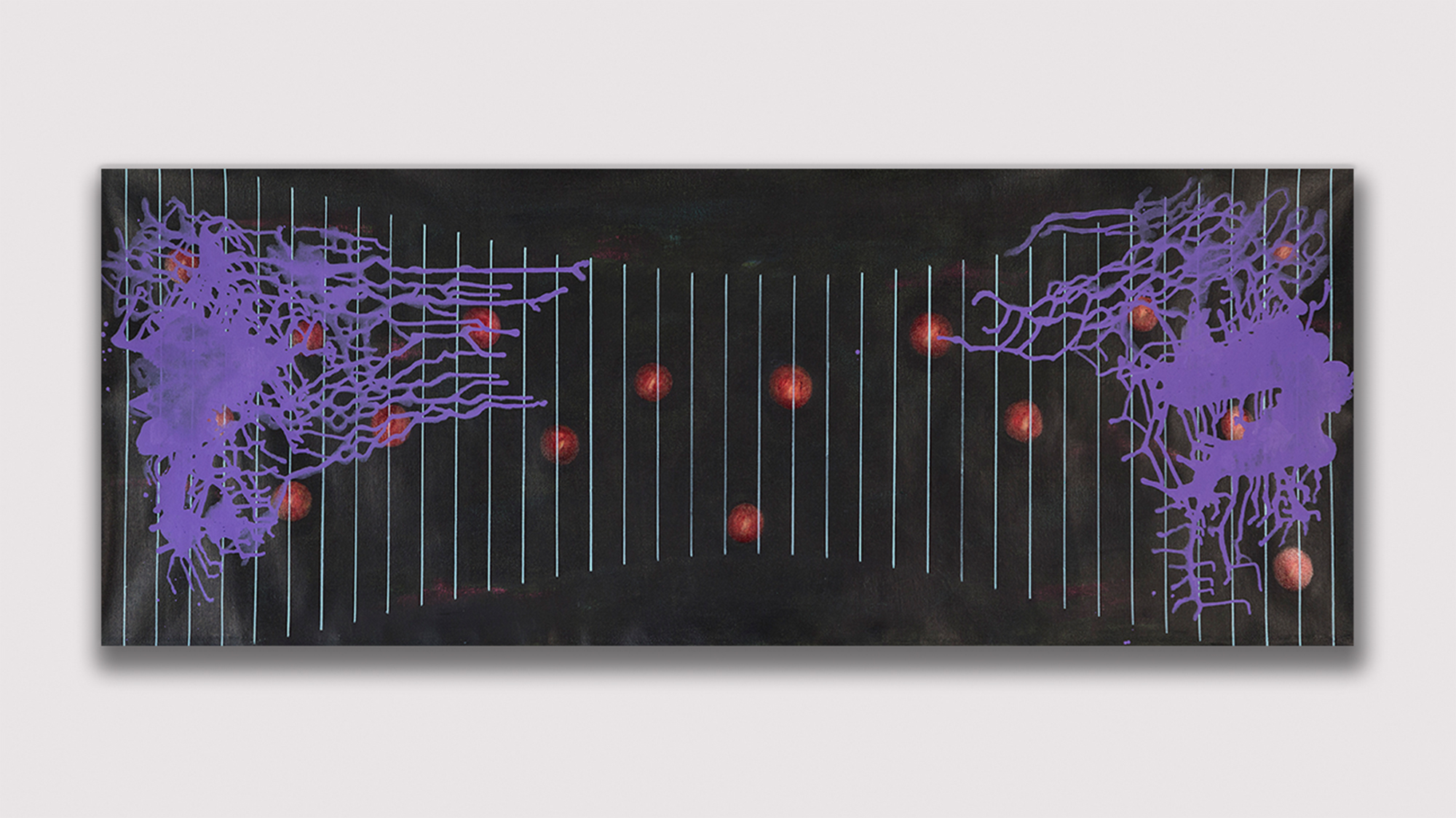 Satch Hoyt  -  Afro-Sonic Map (Black Mapping) , 2016 Acrylic on Linen 76.50h x 29.50w inches