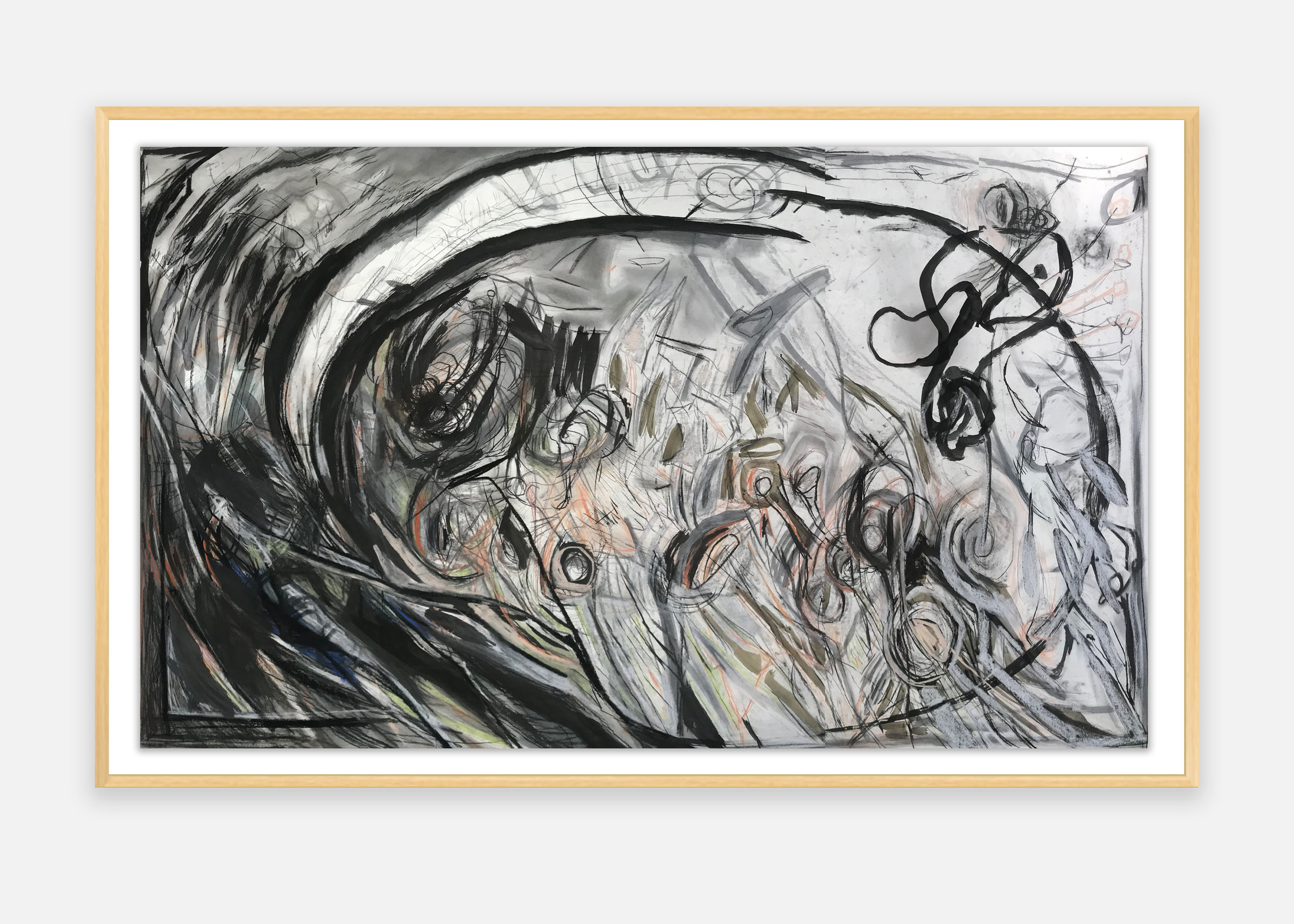 Beverly Fishman  -  Untitled , 1985-87 Pastel and charcoal on archival paper Artwork Dimensions: 54.5h x 77w inches Framed Dimensions: 58.5h x 81w inches