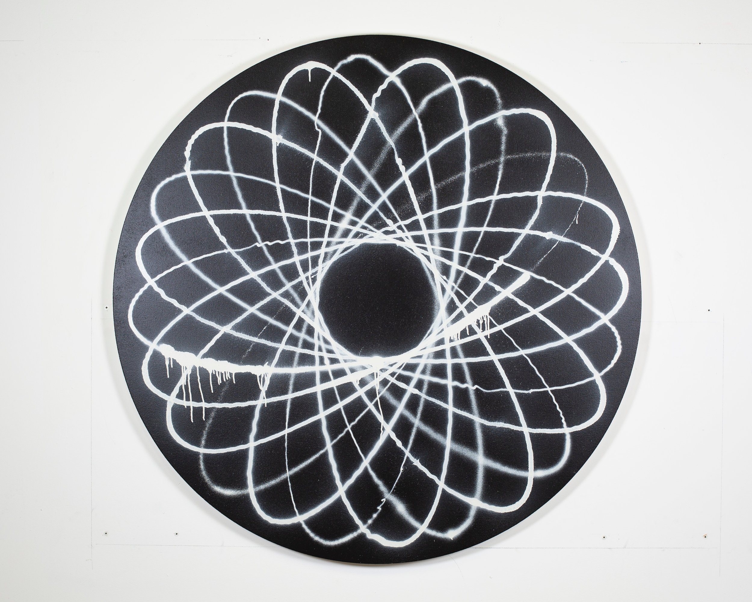Jason REVOK  -  SmallSpiro_B/W_b_6/19 , 2019 Synthetic polymer and acrylic spray paint on shaped canvas 60 inches in diameter