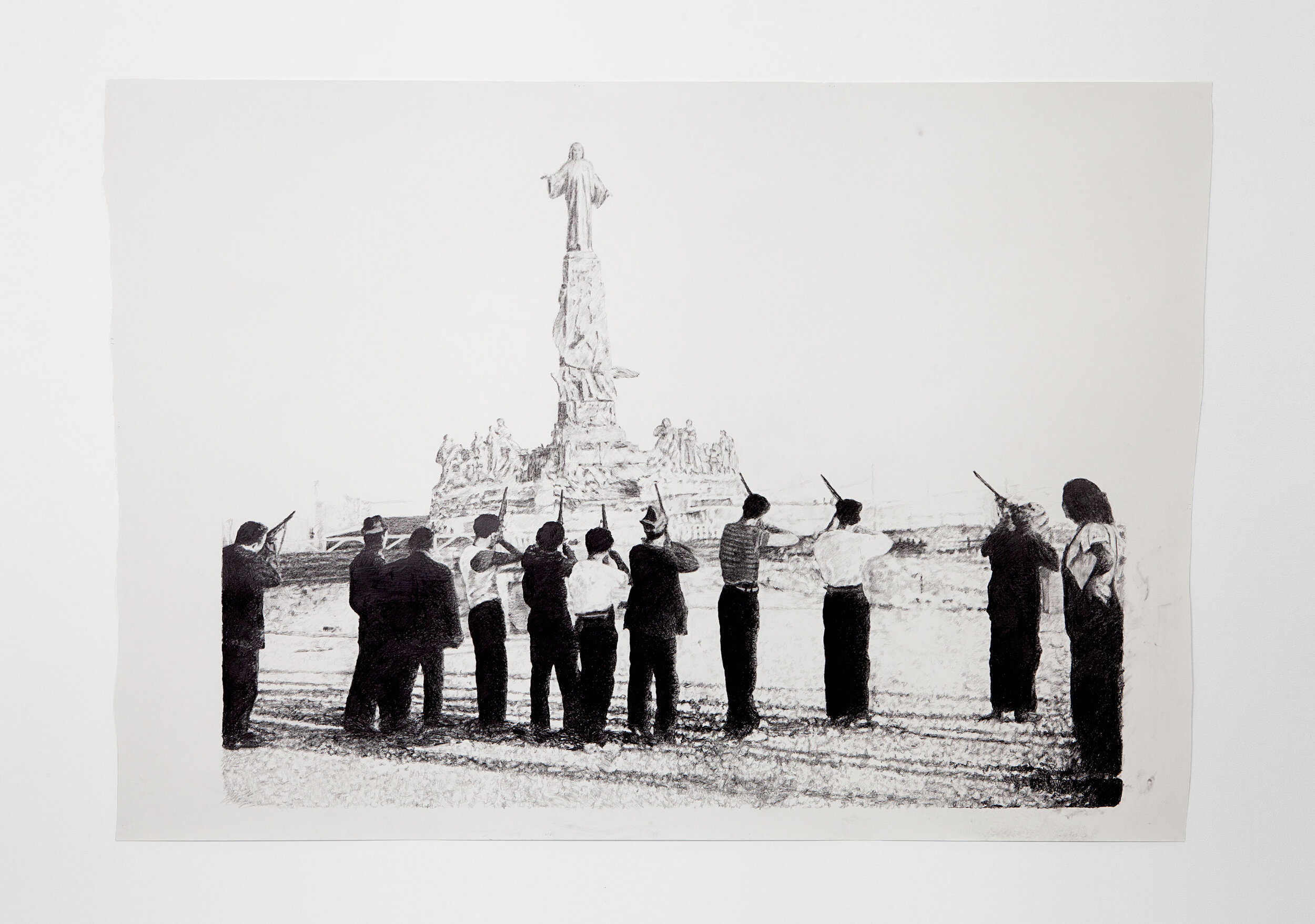 Sam Durant  -  Madrid 1936 , 2018 Graphite on paper 58h x 79w inches