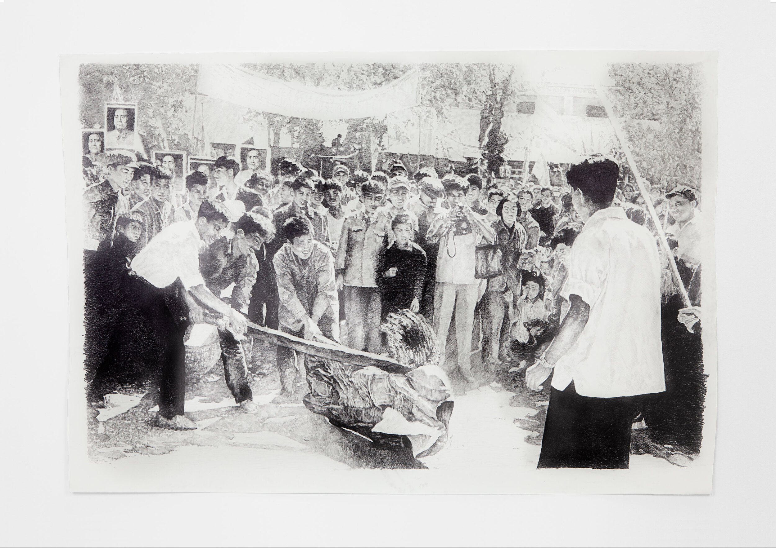 Sam Durant  -  Harbin 1966 , 2018 Graphite on paper 54.50h x 83w inches