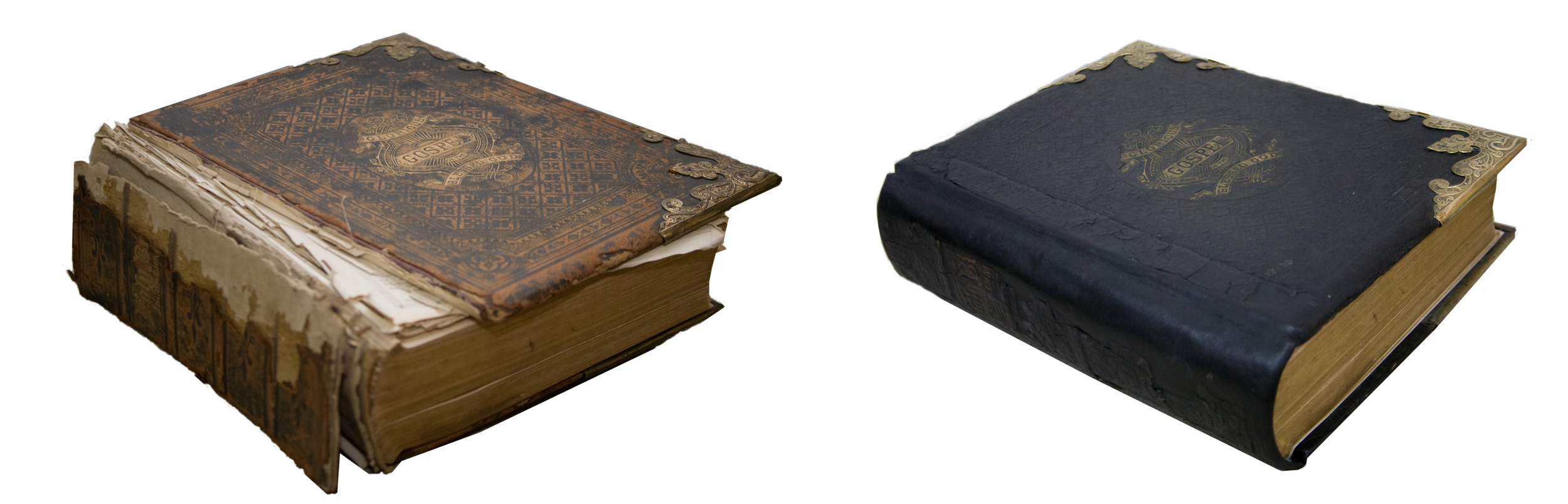 A Family Bible before and after restoration