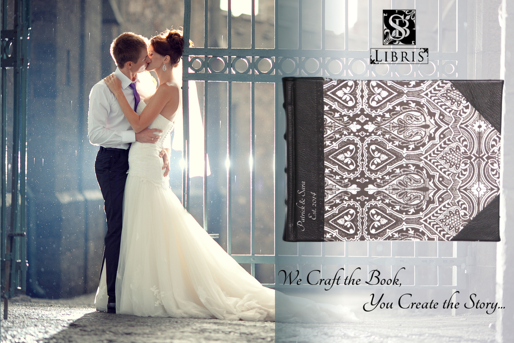 Black leather wedding guest book
