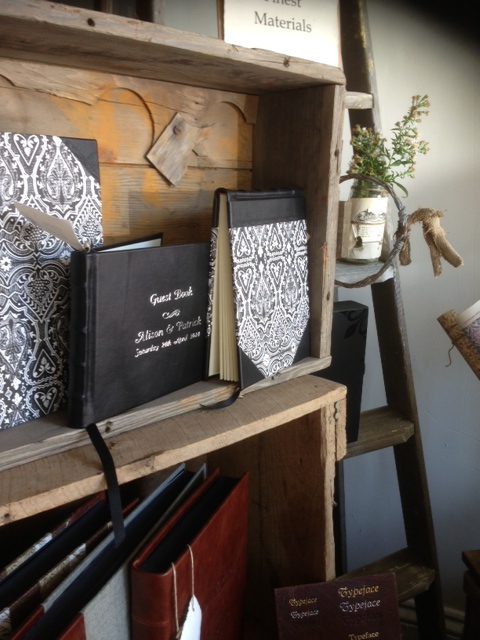 Full and half leather guest books with personalisation