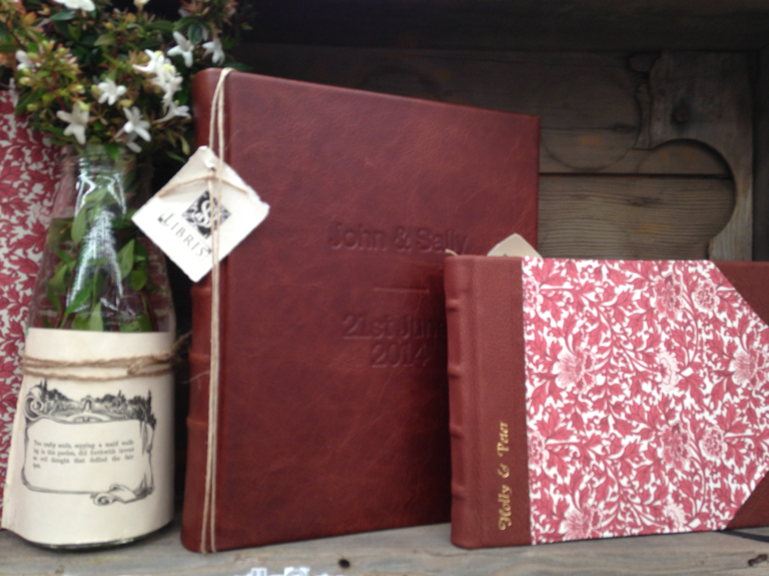 Personalised signature book and full leather portrait album