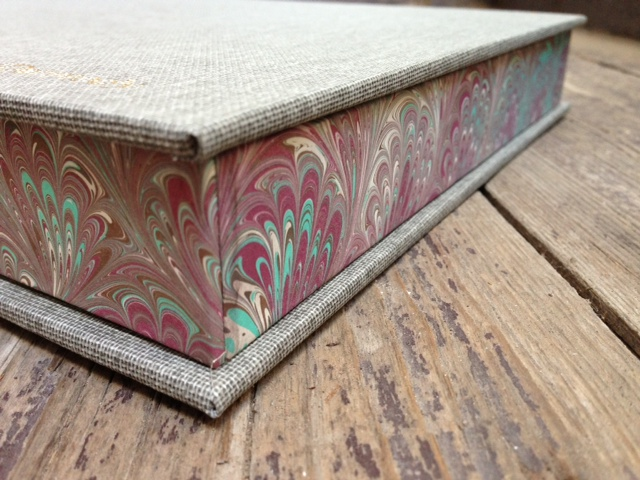 Cloth and marble paper custom box