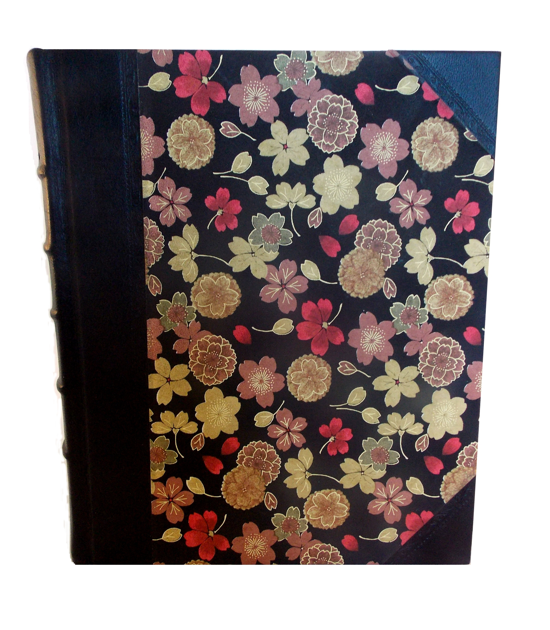 Half Leather Portrait Album in Golden Flower design