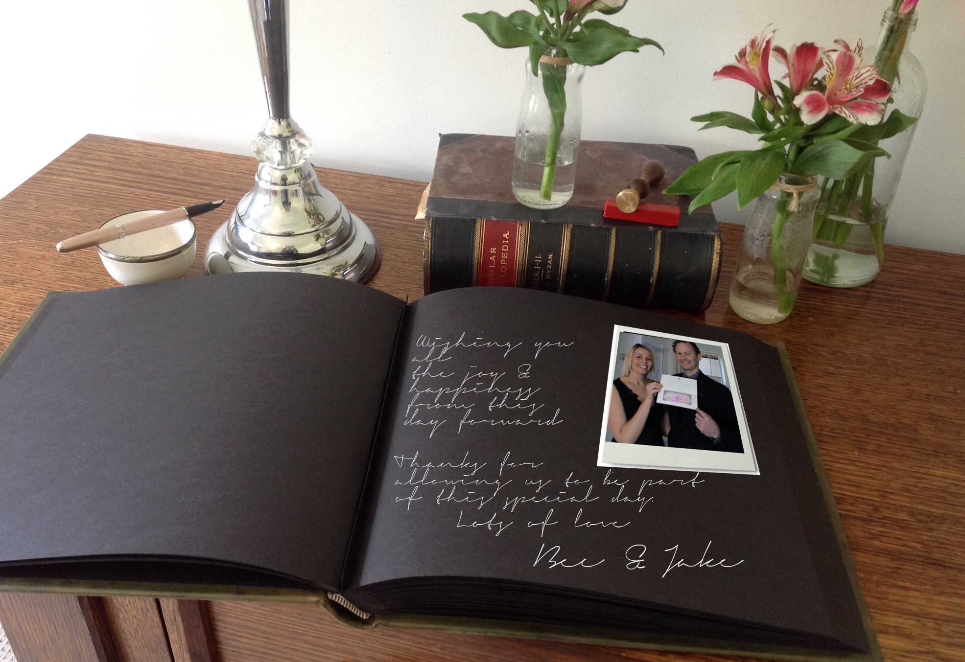 Choose from black or cream card stock to have your guest book custom made such as the large full leather book above.