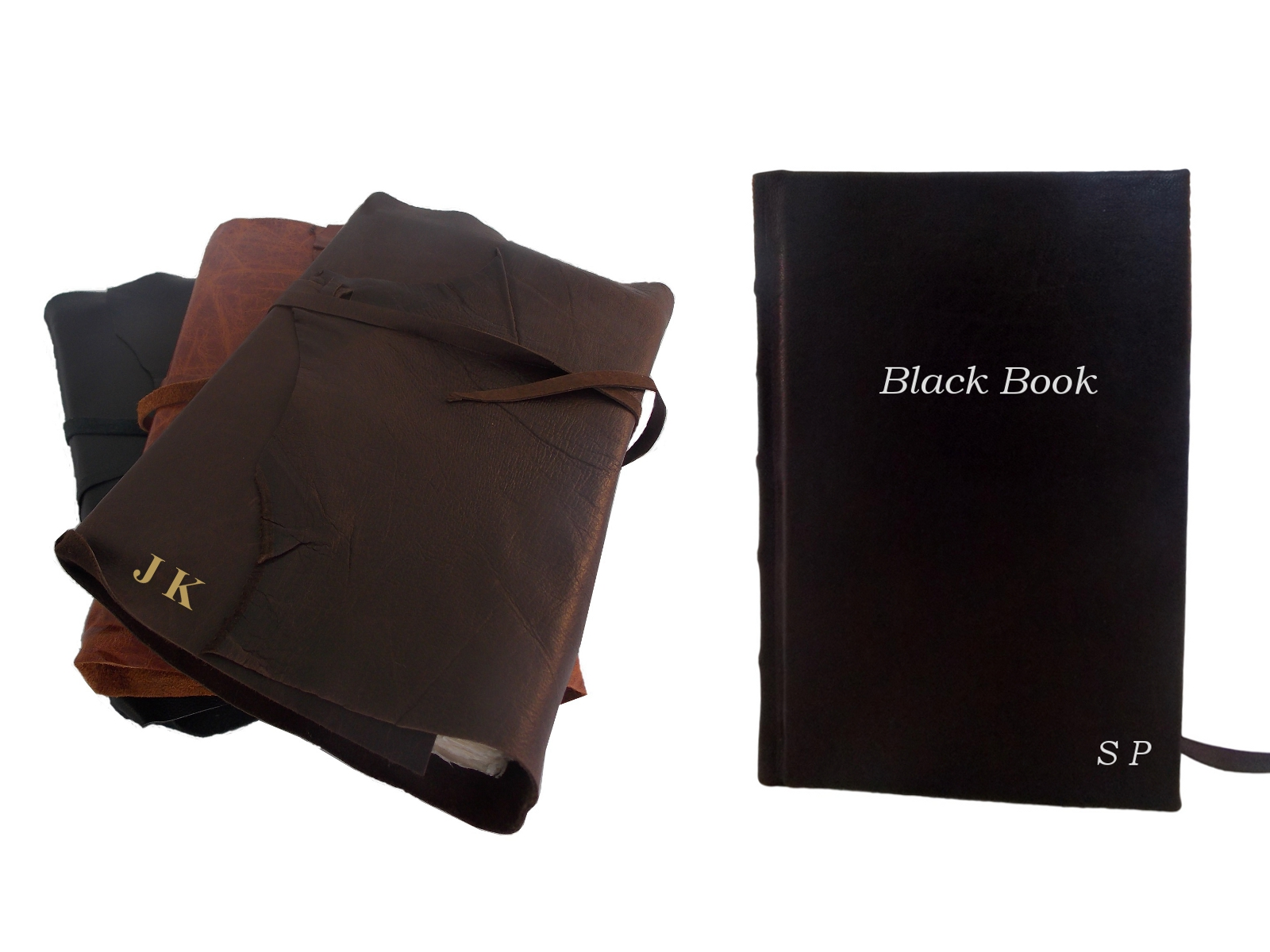 Leather Rustic Wrap Journal in 3 colours with initials embossing;  Full Leather Journal in Black
