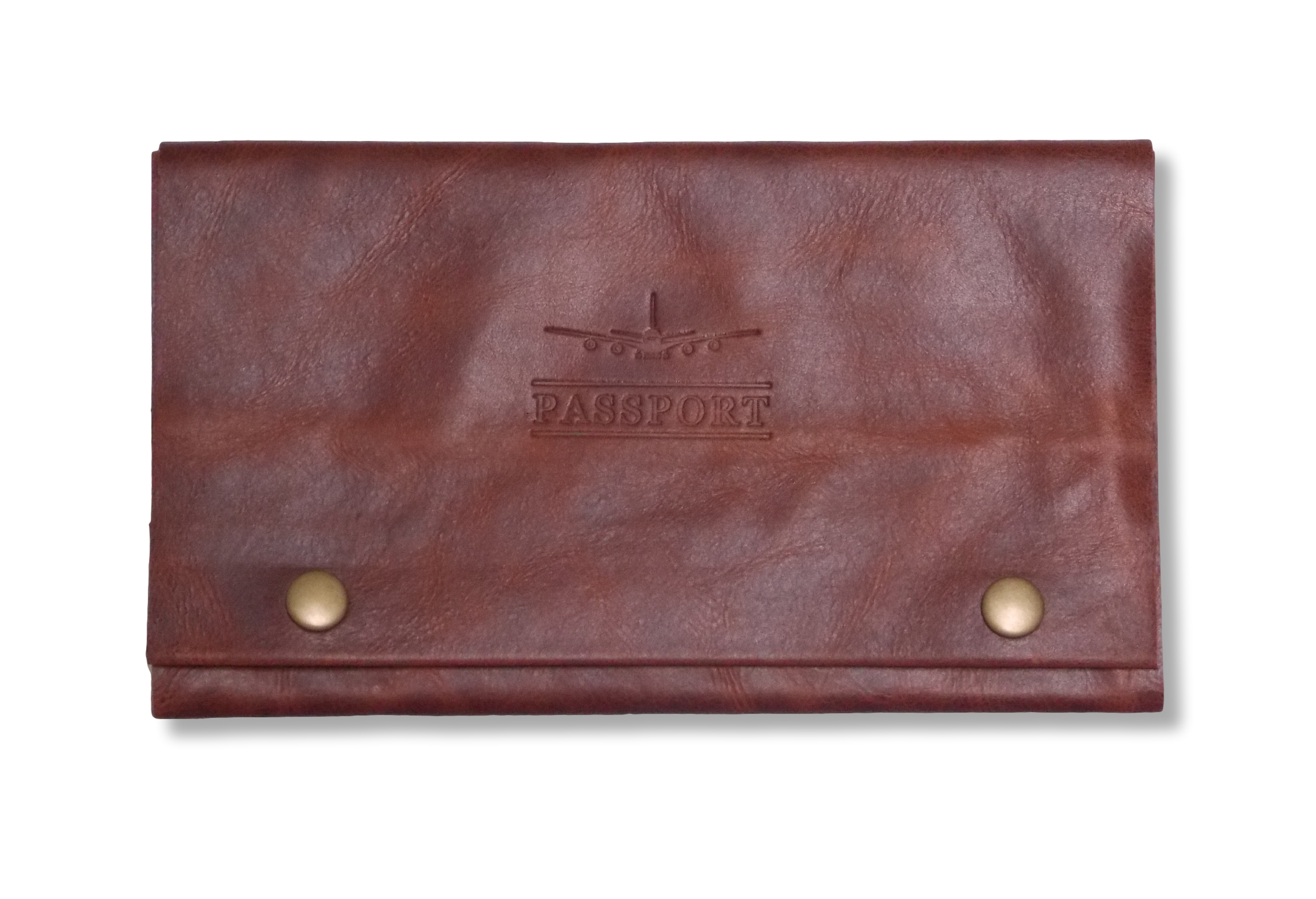 Leather Travel Wallet in Jarrah