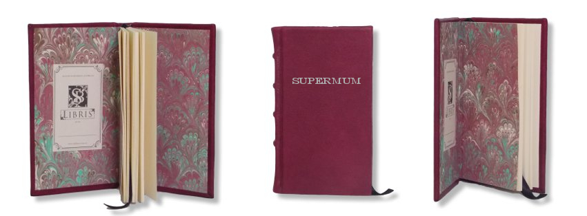 Product Featured:   Slimline Leather Journal in Crimson  $75.  Silver embossing of title in Engravers font (embossing $25)