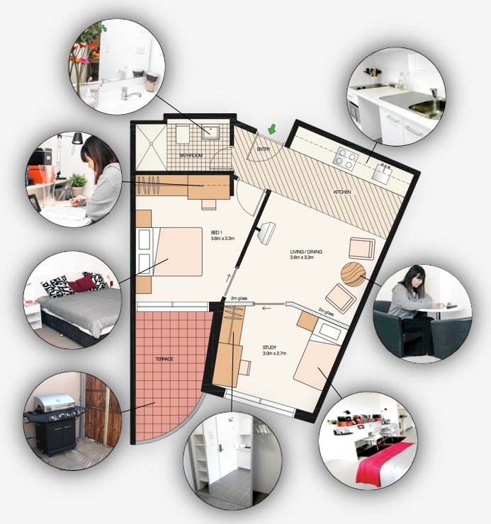 One bedroom + study private or shared student accommodation layout