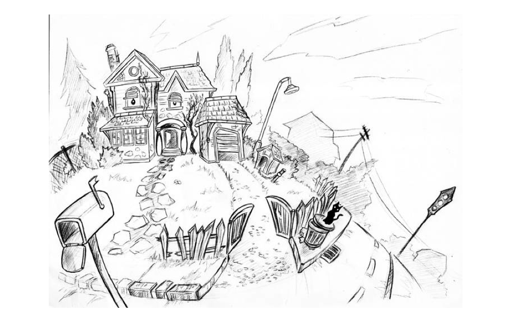 First sketch of the house. The idea here was to give the house itself character, the more you repaired it, the happier it got.