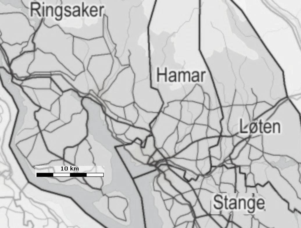 Fra Hedemarkenkart.no. Hamars grenser mot omlandskommunene.