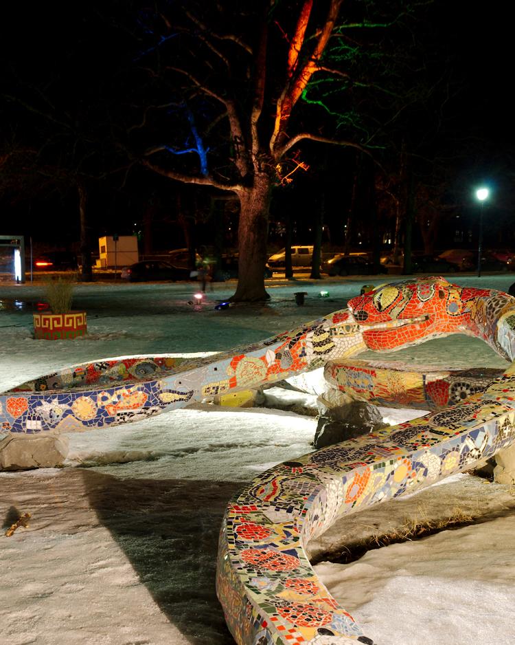 Sagene park etter endring av belysningen. FOTO: Gard Gitlestad.