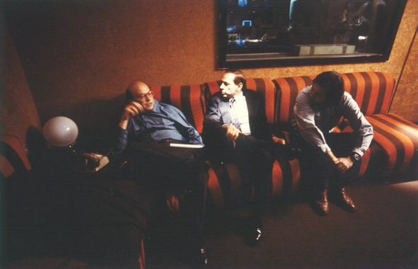 Bettino Craxi (on the left), Filippo Panseca (on the right) and Silvio Berlusconi at Mediaset offices in the 80s). Image credit: Alberto Peruzzo Editore