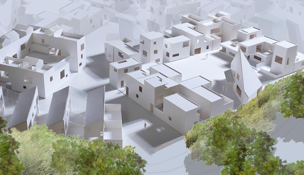 Bebyggelse med ravine illustrasjon: CODE arkitekter