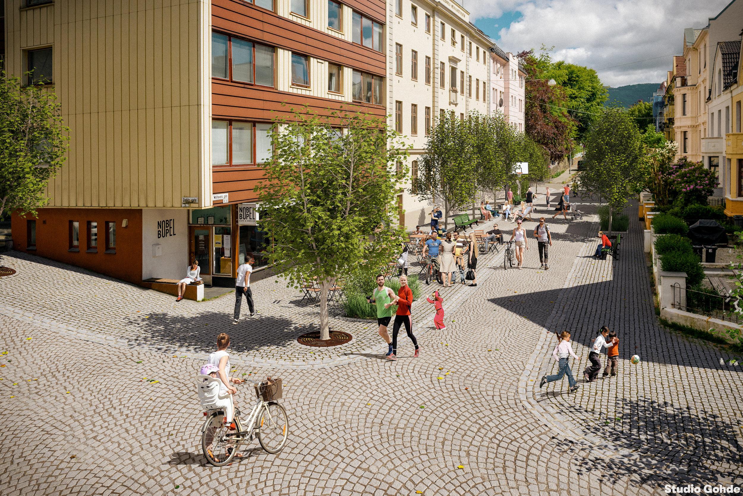Illustrasjon av Wellhavens gate, slik den kunne sett ut om den var bilfri til daglig. Laget av Studio Gohde.  De andre bildene er tatt av Lars Ove Kvalbein.