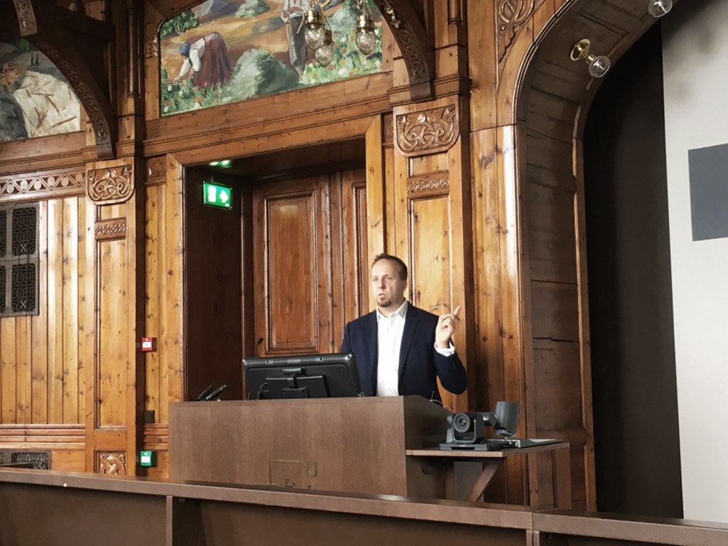 Jencek during his lecture at the Norwegian University of Life Sciences.