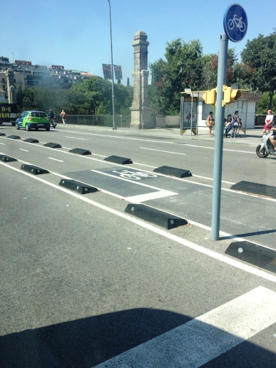 Here is another bike lane I spotted. Notice how the blocks protect the cyclists from the cars.