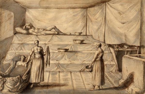 Badstuen har en lang historie, her en tegning fra Lorenzo Magalottis reise i Sverige 1674. Foto: Wikipedia commons.