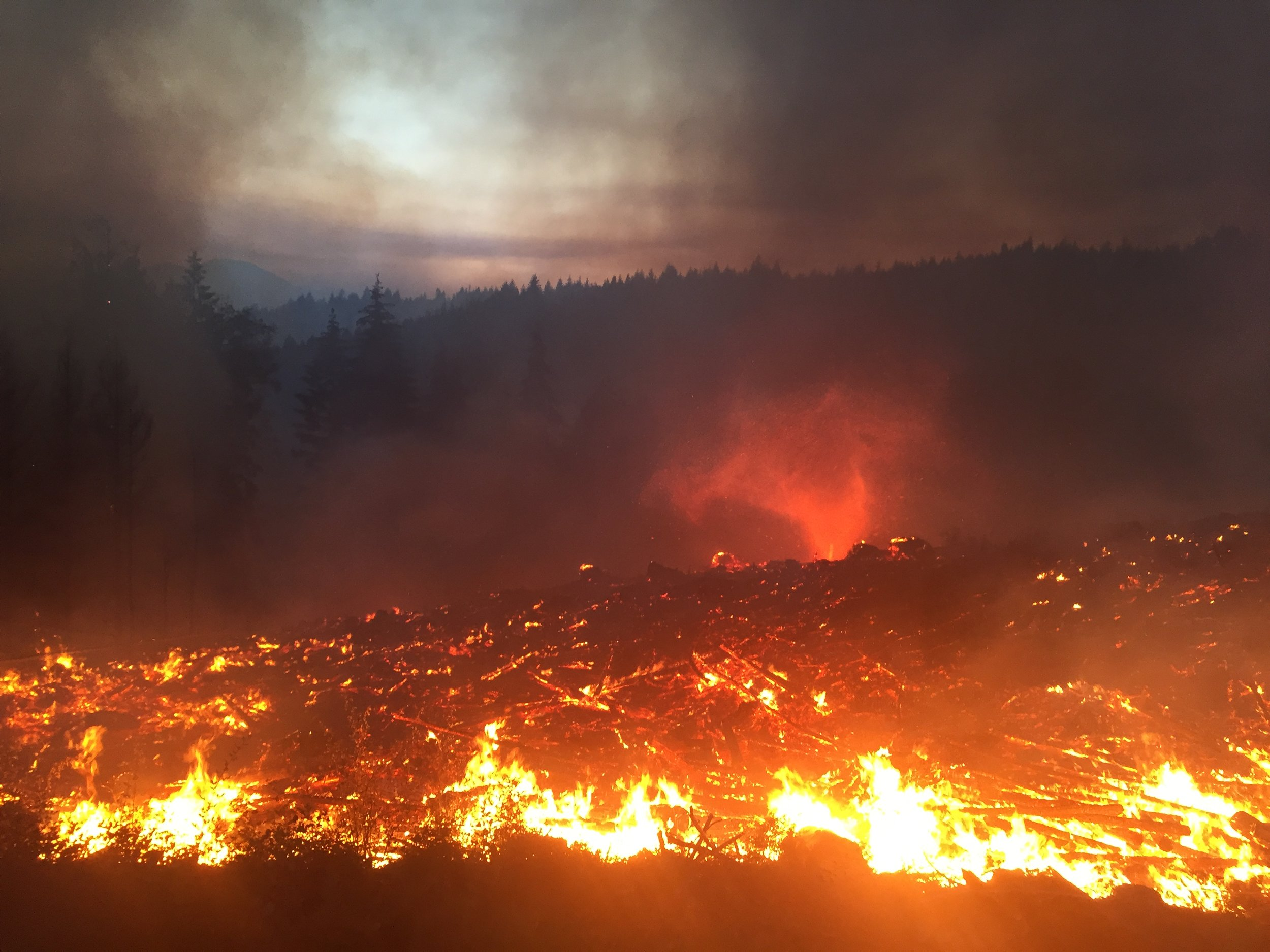 Burn off operation in Vancouver Island. A Fire Devil kicked up and spun around for a half hour.