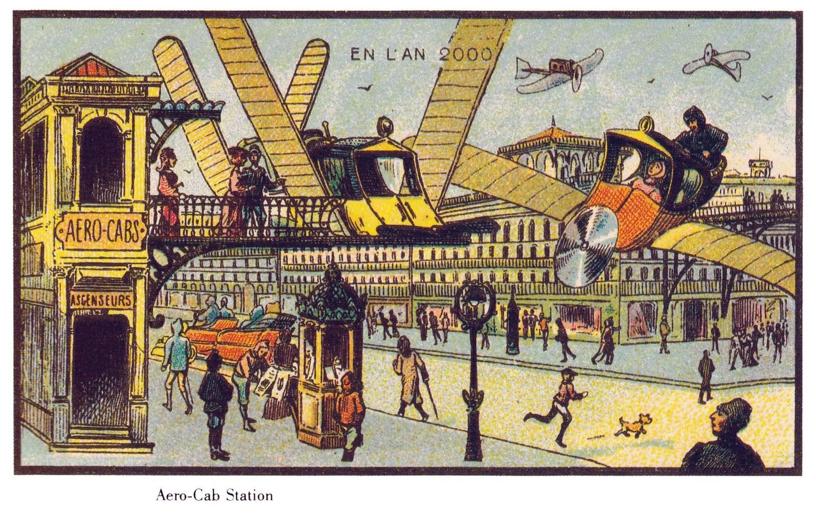 Slik så 2000-tallet da franske Jean-Marc Côté drømte om det på 1890-tallet. I KOTE #11 ønsker vi å undersøke hvordan fremtiden ser ut i dag. Bilde: Wikimedia commons.