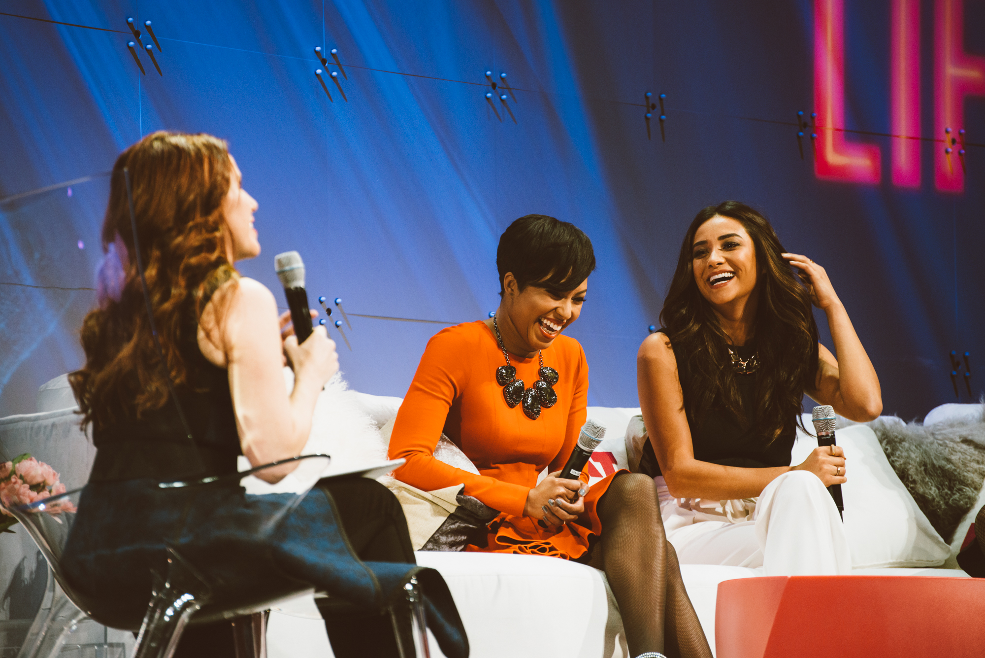 SVP of Global Communications at Donna Karan Aliza Licht, Alicia Quarles of E! News and Shay Mitchell of Pretty Little Liars