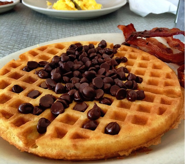 Chocolate chip waffle at the Majestic Diner // photo courtesy of foodisonfleek via Instagram
