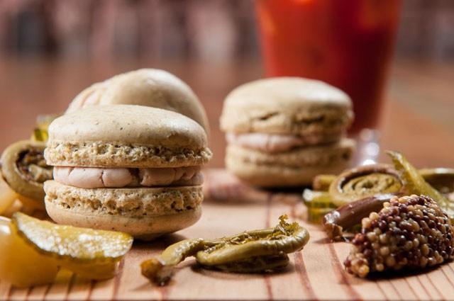 Sicilian pistachio macaron complete with mortadella mousse / photo credit: James Camp via Creative Loafing