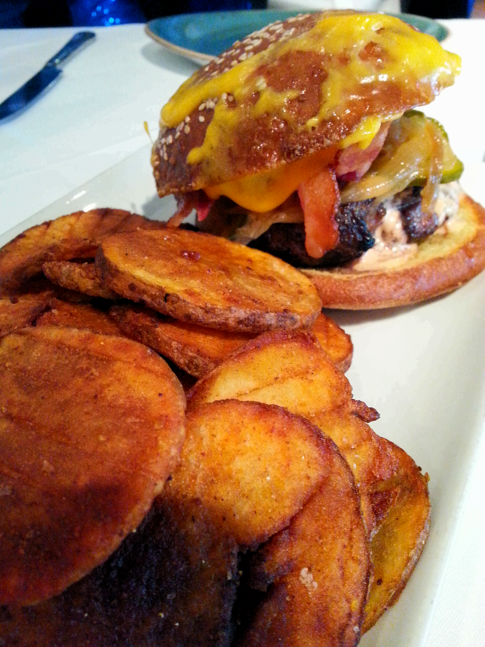 The glorious, decadent 50/50 Burger / photo credit: Michael Mackie