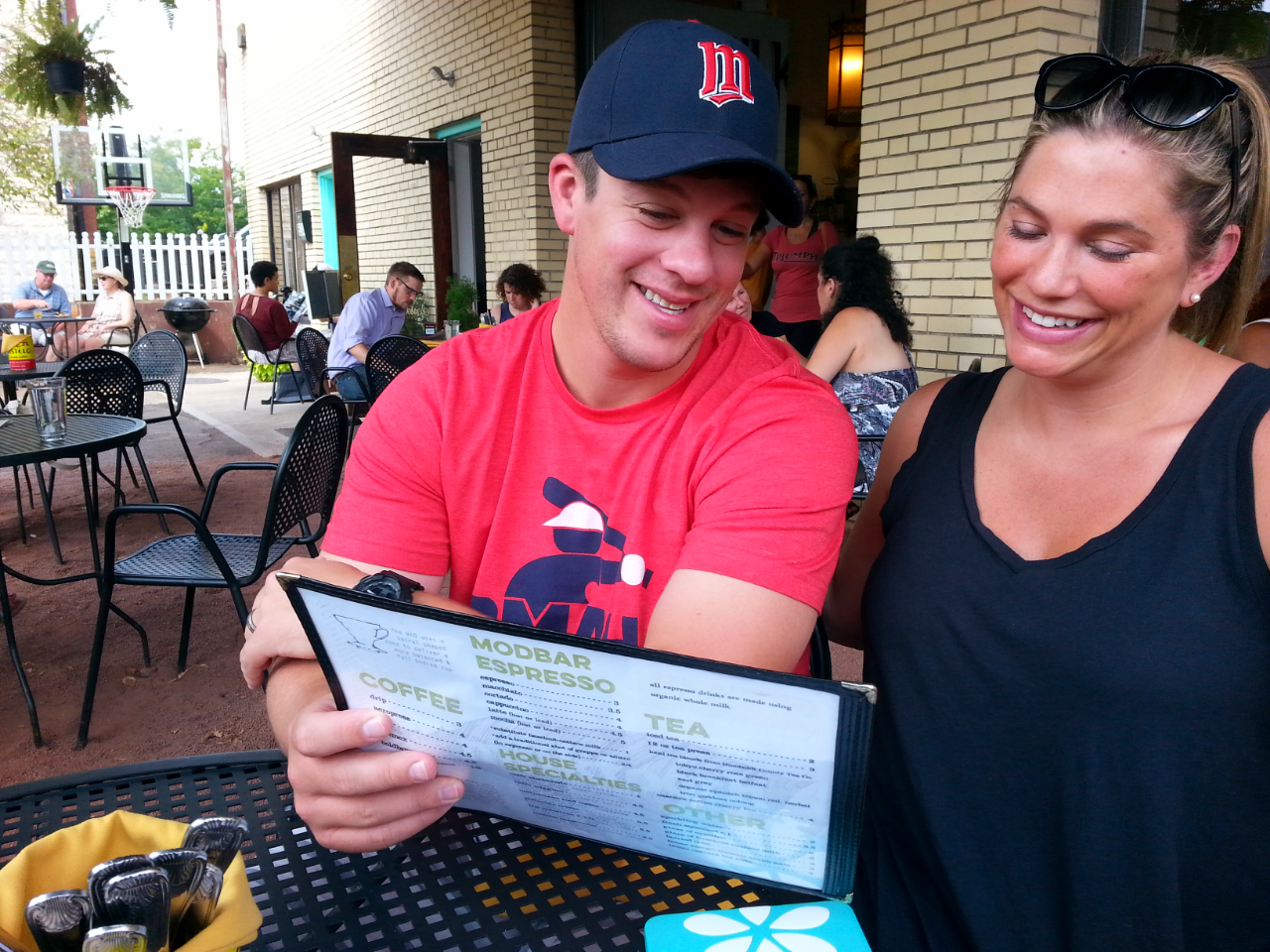 Newbies Josh Looney and Jenna Frankfurt discuss the to-die-for menu / photo by Michael Mackie