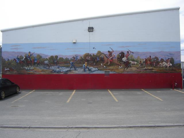 Toppenish's Second mural, Haller's Defeat, was painted in 1989 by Fred Oldfield with the assistance of Karen Gulley, Val Kerby and Mavis Willson / photo courtesy of the Toppenish Mural Society Facebook