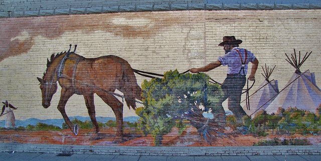 """""""Clearing the Land"""", under the direction of Phil Cooser, was created in under 8 hours by over fifteen artists / photo courtesy of the Toppenish Mural Society Facebook"""