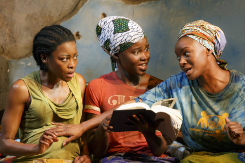 Pascale Armand, Lupita Nyong'o and Saycon Sengloh in  Eclipsed. Photo by Joan Marcus.