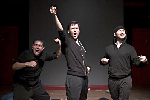 Matt Zambrano, Nick Abeel, and Kyle Schaefer in Fly, You Fools!Photo by Lloyd Mulvey.