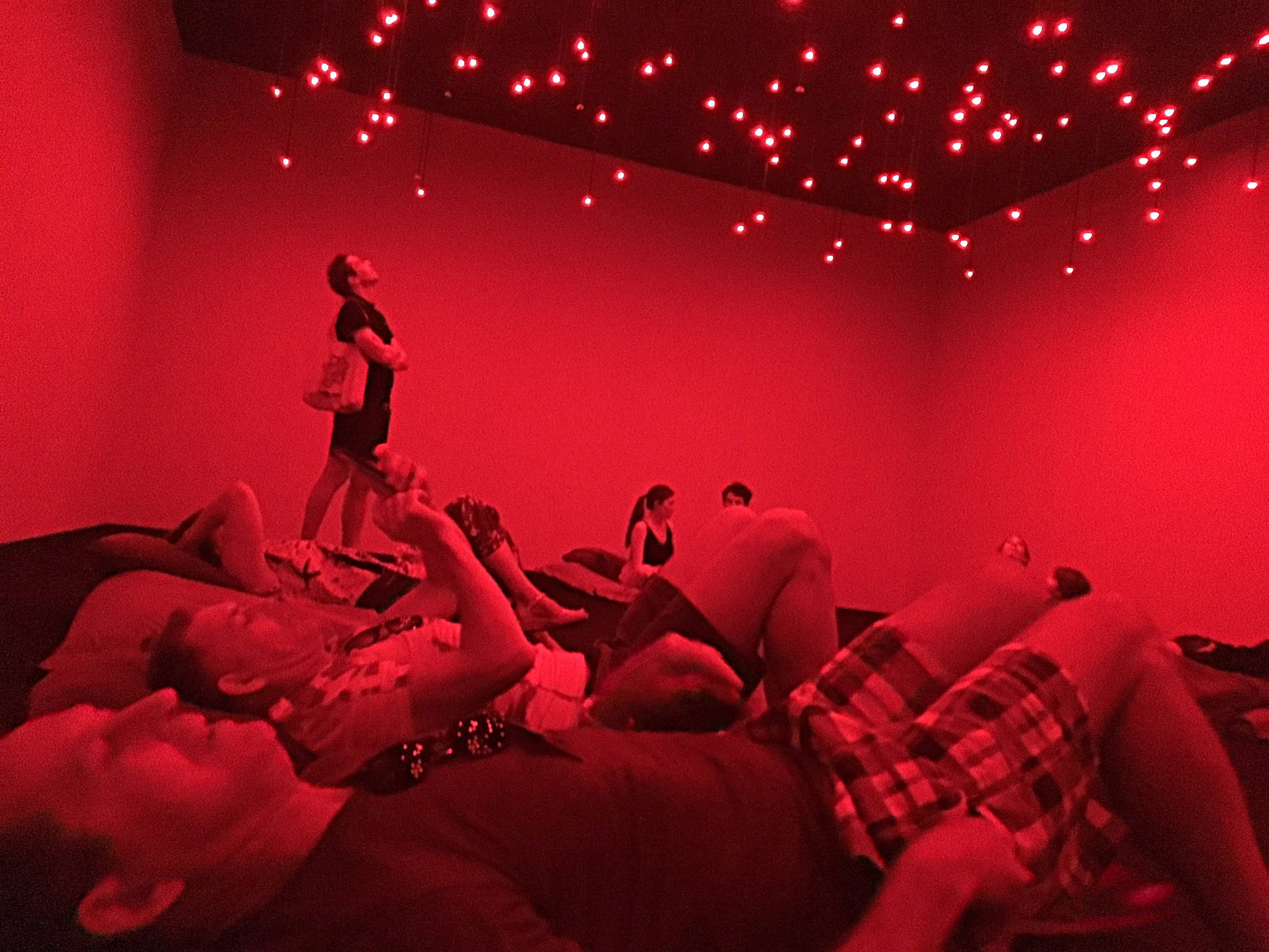 'Have a lie down in the red room.  Arrow of Time (Unfinished Life)'  (2016) installation view at MCA