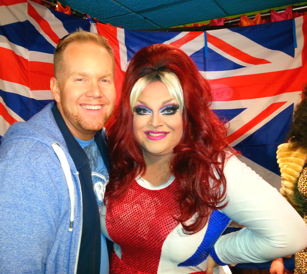 Author Michael Mackie and Ginger Minj ... as Ginger Spice. Duh.