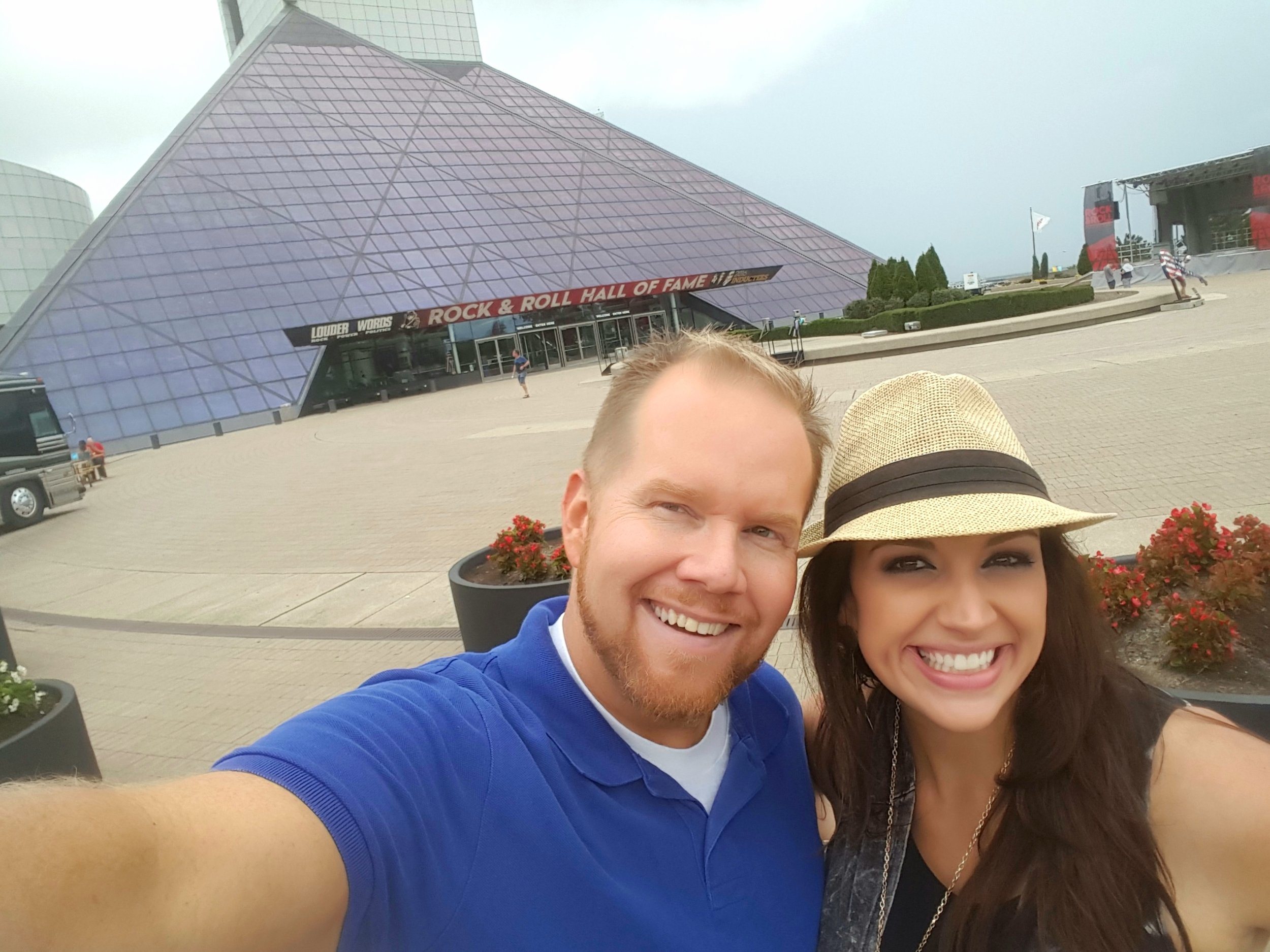 Michael Mackie and Kristi Capel in front of the Rock Hall's famed pyramid