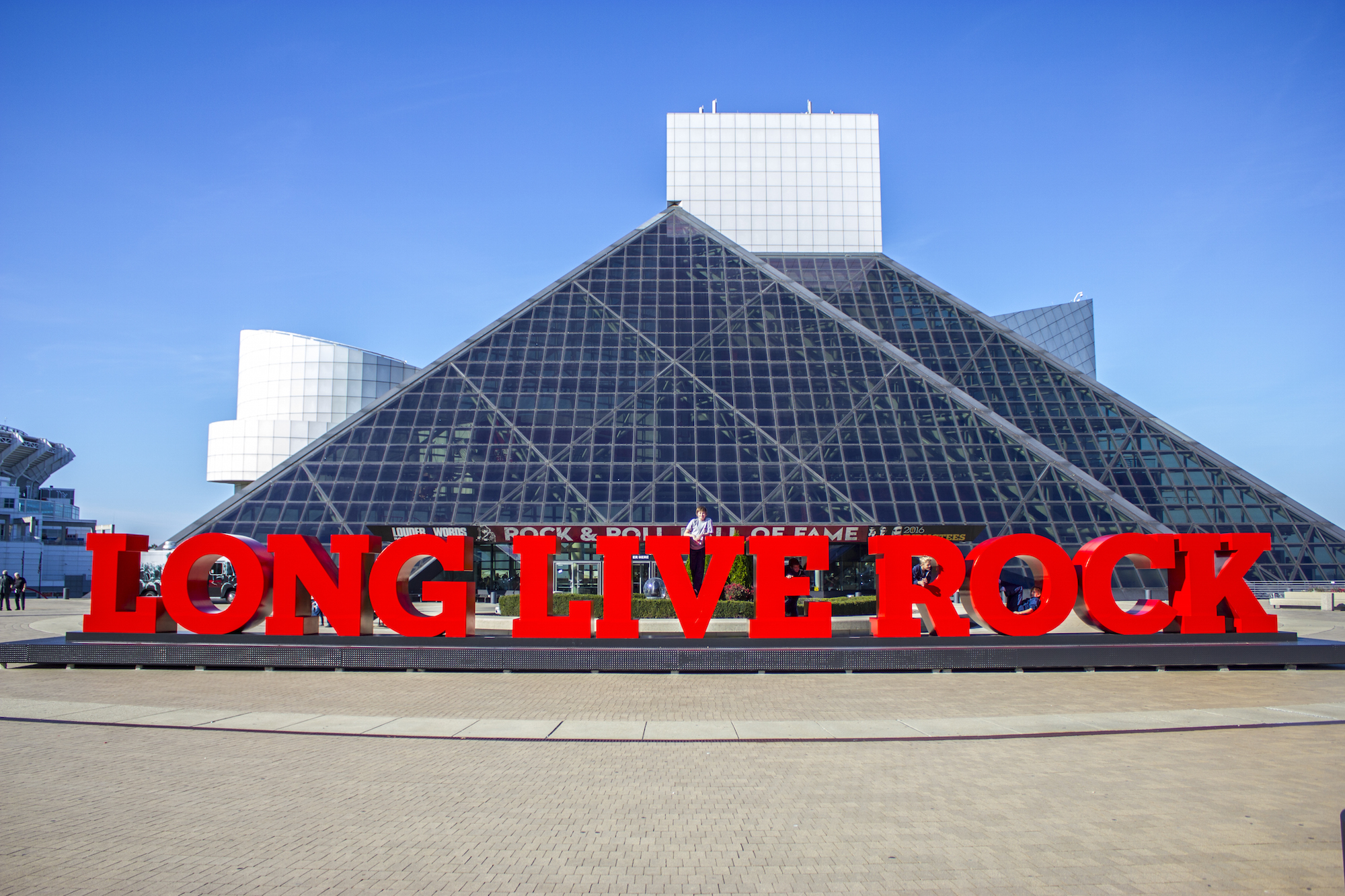Distinctive and much photographed entrance to the Rock & Roll Hall of Fame.